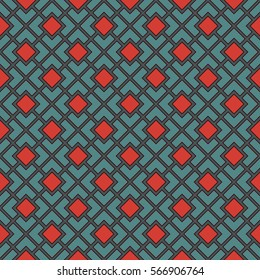 Seamless pattern with symmetric geometric ornament. Red and blue color diagonal square chain abstract background. Mosaic wallpaper. Digital paper, textile print, page fill. Vector illustration