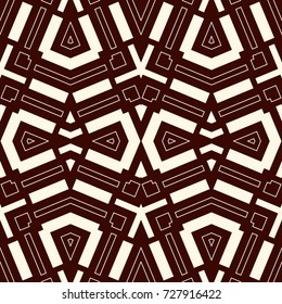 Seamless pattern with symmetric geometric ornament. Striped abstract background. Ethnic and tribal motifs. Repeated rhombuses wallpaper. Vector illustration