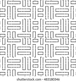 Seamless pattern with symmetric ornament. Black color geometric figures abstract on white background. Futuristic motif. Ornamental wallpaper. Vector illustration