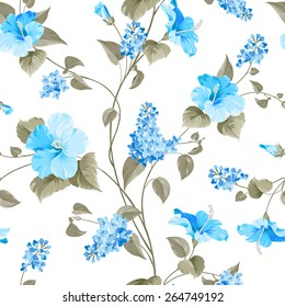 Seamless pattern of Syringa and Hibiscus flowers for fabric samples. Vector illustration.