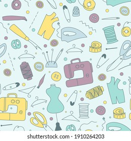 Seamless pattern with tailor sewing elements in doodle style. Vector illustration in colors.
