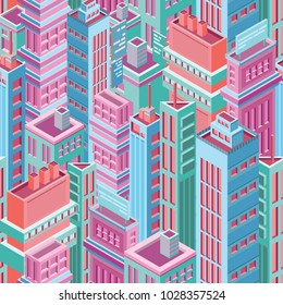 Seamless pattern with tall isometric city buildings, skyscrapers or towers of modern megalopolis. Background with city houses, urban area. Colorful vector illustration for wallpaper, textile print.