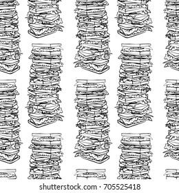 Seamless pattern with tall piles of toasts. Black and white hand drawn image. Lunch pattern. Vector illustration. Building of food