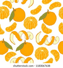 seamless pattern with tangerine, tangerine lobules, zest. Vector image drawn by hand in retro style.