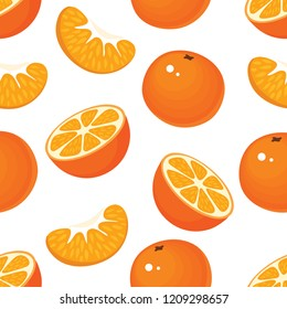 Seamless pattern with tangerines, a mandarin half and a slice of mandarin
