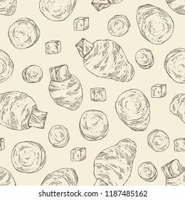 Seamless pattern with taro: taro root, leaves and taro slice. Colocasia esculenta. Vector hand drawn illustration.