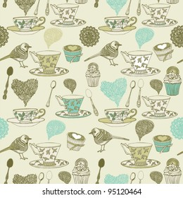 seamless pattern tea and birds