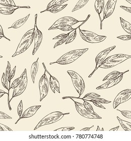 Seamless pattern with tea leaves. Green tea. Vector hand drawn illustration.