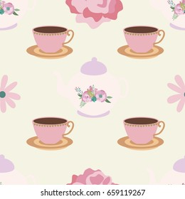 Seamless pattern with tea party elements. Vector illustration