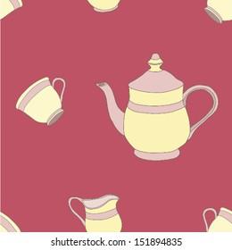 Seamless pattern of the tea set