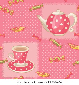 Seamless pattern with tea set. Pink dotted background and teapot, cup with sweets. Colorful vector illustration.