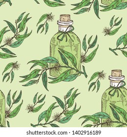 Seamless pattern with tea tree and bottle of essential oil. Cosmetic, perfumery and medical plant. Vector hand drawn illustration