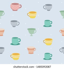 The seamless pattern of teacup on blue background and white polkadot. The pattern of teacup in many style on the blue background. The cute teacup in flat vector style.