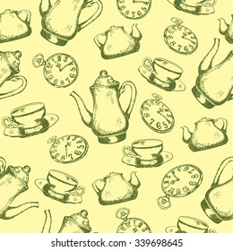 Seamless pattern with teapot and cups. Vector illustration. Good texture for your design