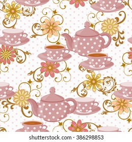 Seamless pattern with teapot, tea cups and flowers. The teapot in polka dot and Cup with a drink.