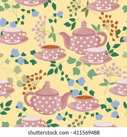 Seamless pattern with teapots, cups and field plants. Teapots, cups of tea, green branches and flowers.