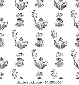 Seamless pattern of teapots and teacups isolated on white background. Chinese seamless pattern of teapots and teacups collection for textile design. Vector outline illustration.