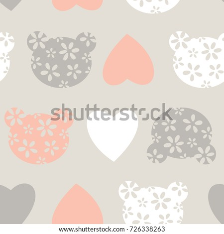Seamless Pattern With Teddy Bear Head And Heart Vector Textile Fabric Print Wrapping Paper
