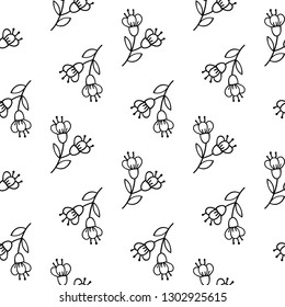 Seamless pattern with tender hand-drawn flawers.