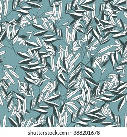 Seamless pattern with tender leaves and branches on light blue background. Vector design for textile, fabric, wallpaper and wrapping paper design.