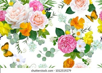 Seamless pattern with tender roses,daffodils and butterflies