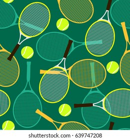 Seamless pattern with tennis rackets and balls.Vector illustration.