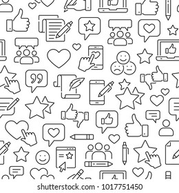 Seamless pattern with testimonials, review, feedback, survey, comment. Black and white thin line icons