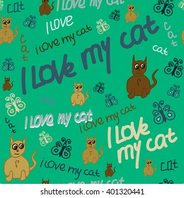 Seamless pattern with text I love my cat. Lime green background. For printing on packaging, bags, cups, laptop, furniture, etc. Vector.