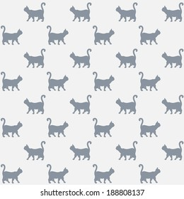 Seamless pattern. Texture with colorful cats with curved tails. Can be used for textile, website background, book cover, packaging.