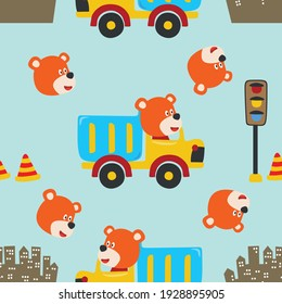 Seamless pattern texture with contruction vehicle with cute litle animal driver. For fabric textile, nursery, baby clothes, background, textile, wrapping paper and other decoration.