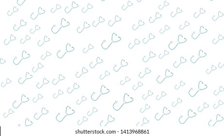 Seamless pattern texture of endless repetitive medical instruments with stethoscopes of phonendoscopes for listening to lungs and hearts on a white background. Vector illustration