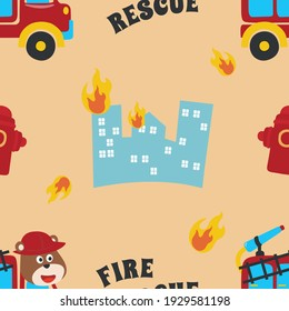 Seamless pattern texture with  Fire rescue team with funny firefighter For fabric textile, nursery, baby clothes, background, textile, wrapping paper and other decoration.