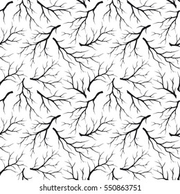 Seamless pattern texture with leafless trees branches, twigs in black and white