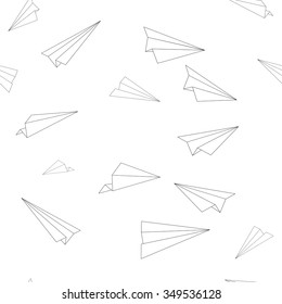 Seamless Pattern Texture - Minimal Flying Airplanes Line Art - Vector Design