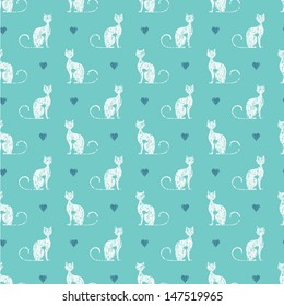 Seamless pattern with textured cats and hearts on turquoise background