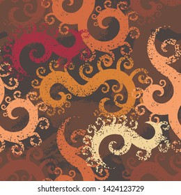 Seamless pattern with textured curles. Endless texture for unusual wrapping or textile print with messy design.