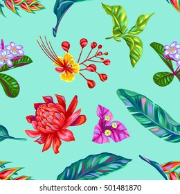 Seamless pattern with Thailand flowers. Tropical multicolor plants, leaves and buds.