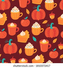 Seamless pattern for Thanksgiving holiday with pumpkin spice latte coffee and pumpkin pie. Childish background for fabric, wrapping paper, textile, wallpaper and apparel. Vector Illustration