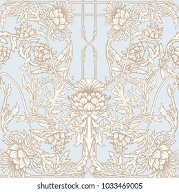 Seamless pattern with thistle flower, background in   art nouveau style, vintage, old, retro style.  Stock vector illustration.