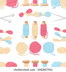 Seamless pattern. Threads for sewing for cross stitching set tools for sewing knitting needles vector wool knitwear yarn thread knitting weaving wool vector cartoon illustration multi-coloured