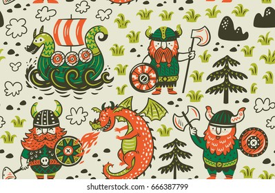 Seamless pattern with three vikings, dragon and ship in cartoon style. Funny vector illustration for kids