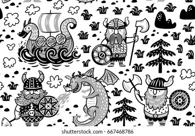 Seamless pattern with three vikings, dragon and ship in cartoon style. Monochrome vector illustration for kids. Coloring page