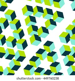 seamless pattern three-dimensional cubes. optical illusion. Impossible geometrical figure