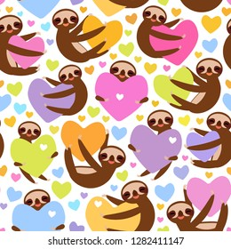 Seamless pattern Three-toed sloth holding red pink, yellow, lilac, orange, blue heart, isolated on white background. Valentine's Day Card banner template. Funny Kawaii animal. Vector