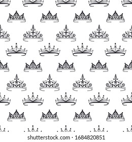 Seamless pattern of tiaras, crowns. Vector stock illustration eps 10.
