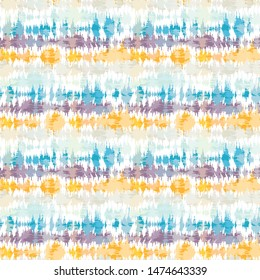 Seamless pattern tie dye shibori stripes. Colorful boho summer background. Vector textile retro swatch.