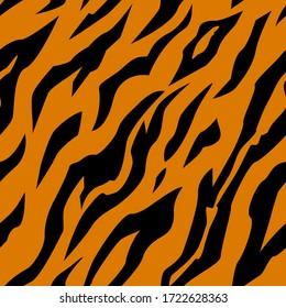 Seamless pattern with tiger stripes. Animal print.