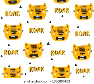 Seamless pattern with tigers drawn in simple scandinavian style.  Vector illustration for baby clothes and prints on wallpaper.