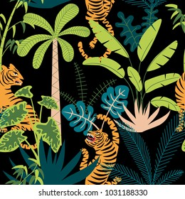 Seamless pattern with tigers and tropical plants