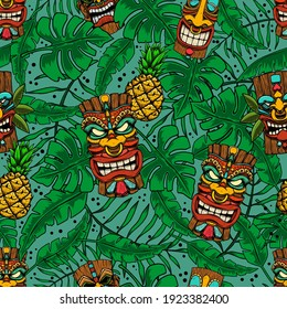 Seamless pattern with tiki idols and palm leaves. Design element for poster, card, banner, sign. Vector illustration